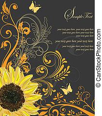 invitación, o, boda, tarjeta