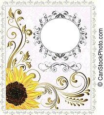 invitación, resumen, retro, tarjeta, floral, florido, diseño...
