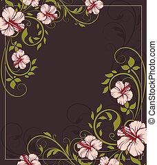 invitación, resumen, retro, tarjeta, floral, florido, diseño, vendimia, elegante