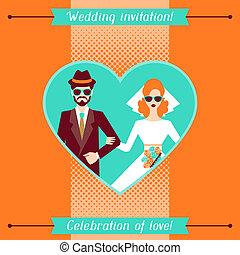 invitación, retro, plantilla, boda, style., tarjeta