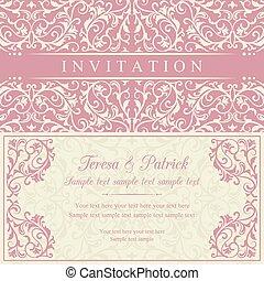 invitación, rosa, barroco, beige