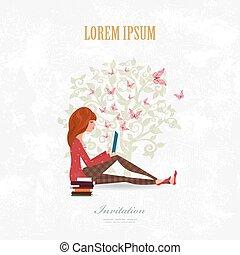 invitación, tarjeta, con, niña bonita, es, leer un libro, en, finca, bac