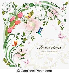 invitación, tarjeta, con, primavera, flowers., con, amor, para, su, design.