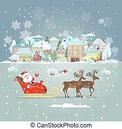 invitación, tarjeta, con, santa claus, en, un, sleigh, para, su, diseño