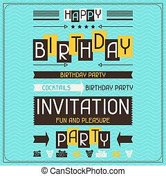 invitación, tarjeta, para, cumpleaños, en, retro, style.