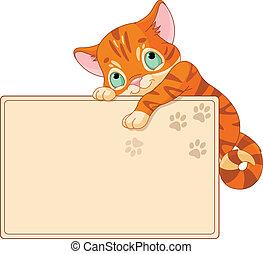 invitar, o, gatito, lindo, cartel
