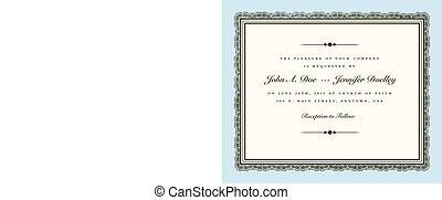 invitar, vendimia, marco, alta costura, vector, boda