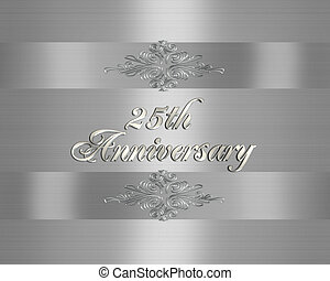 invitation, 25e, mariage, argent, anniversaire