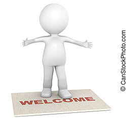 Invitation - 3D little human character standing on a doormat