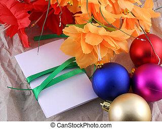 invitation, année, balles, nouveau, fleurs, célébration, noël carte