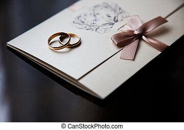 invitation, anneaux, carte, mariage