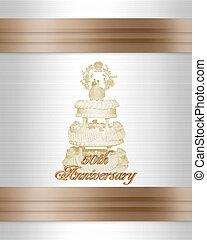 invitation, anniversaire mariage, gâteau, 50th