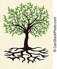 invitation, arbre, résumé, retro, carte, floral, orné, conception, vendange, élégant