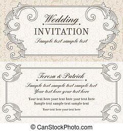 invitation, baroque, mariage, gris, beige