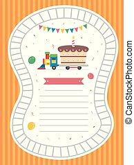 Invitation Birthday Train Illustration