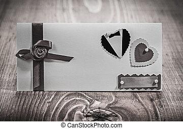 invitation, bois, planche, mariage, carte, vue