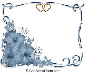 invitation bryllup, grænse, blå hibiscus