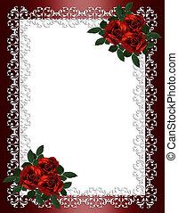 invitation, bryllup, grænse, roser, rød