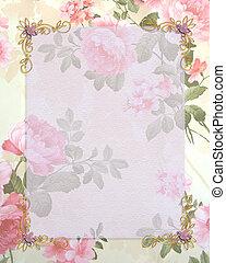 invitation bryllup, lyserøde roser