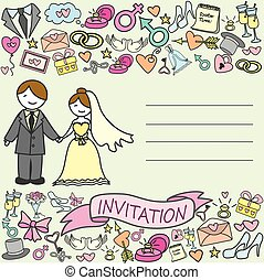 invitation card, bride and groom