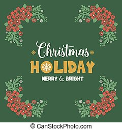 Invitation card christmas holiday, with shape green leafy flower frame. Vector
