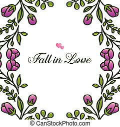 Invitation card fall in love, with background pattern purple floral frame. Vector
