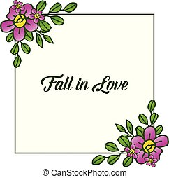 Invitation card fall in love, with romantic floral frame background. Vector