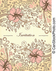 Invitation Card - FLORAL INVITATION CARD WITH PLACE FOR TEXT