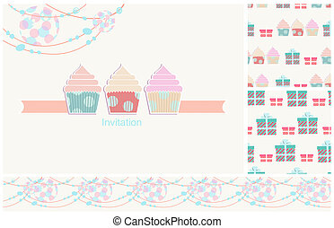 Invitation card for a party with seamless pattern