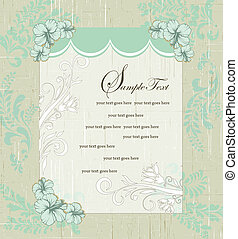 Invitation Card - grunge vintage blue floral invitation card...