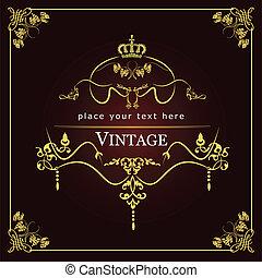 invitation, card., mariage, o, vendange