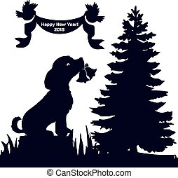 Invitation card (New Year's Eve 2018), dog in the forest sits on a stump and holds his bells in the teeth, silhouette on a white background,