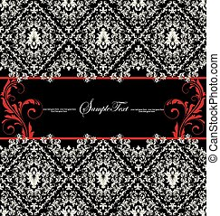 Invitation card on abstract floral background