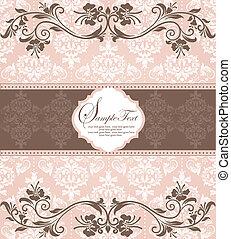 invitation card on damask backgroun - pink vintage damask ...