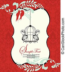 Invitation card on red damask background