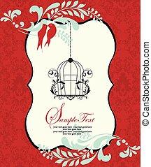 Invitation card on red damask background