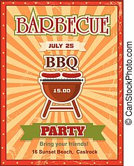 Invitation card on the barbecue design template. Cookout poster design with charcoal grill sausages on forks and sample text. Vector