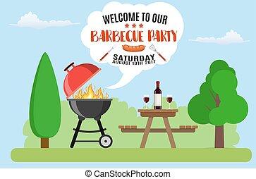 Invitation card on the barbecue.