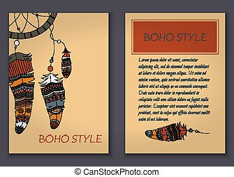 Invitation card set in boho style with tribal feathers, beads and dreamcatcher.