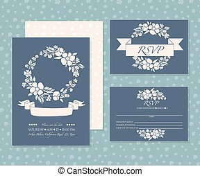 Invitation card set with paster flower motives