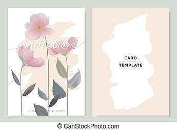 Invitation card template design, pink cosmos flowers with leaves