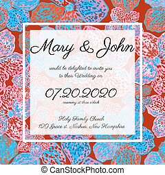 Invitation card template with floral pattern