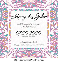 Invitation card template with openwork pattern