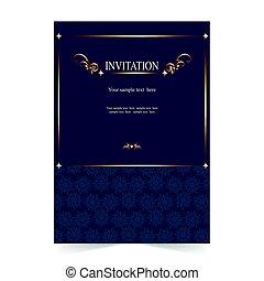 Invitation card, wedding card with ornamental on blue background