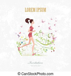 Invitation card with a fashion girl running on grange background
