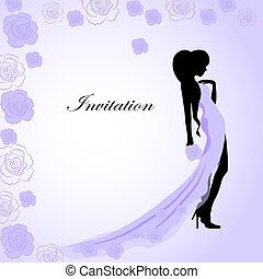 Invitation card with a girl in violet dress