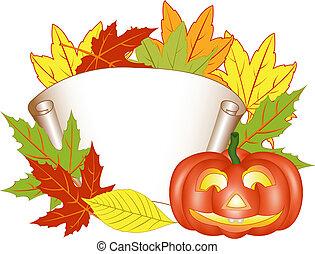 Invitation card with a pumpkin