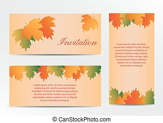 Invitation card with autumn colorful leaves