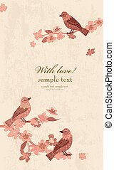 invitation card with blossom cherry and birds