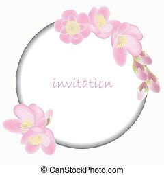 Invitation card with blossom sakura flowers